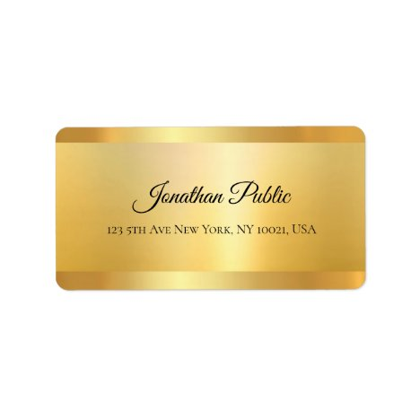 Gold Look Hand Script Name Professional Elegant Label