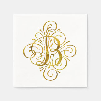 """Gold"" Look Initial B Paper Napkins"
