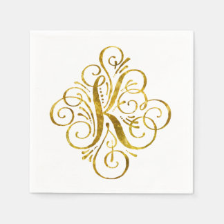 """Gold"" Look Initial K Paper Napkin"