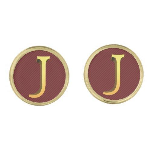 Gold Look Letter J on Burgundy Red Cufflinks