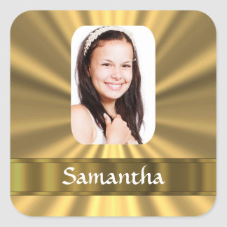 Gold look personalized photo square sticker