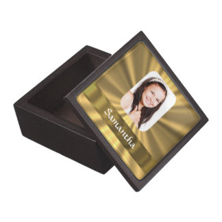 Gold look personalized photo template jewelry box