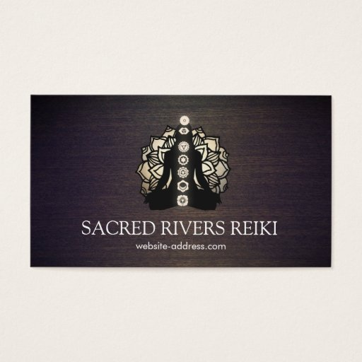 Gold Lotus and Chakras Energy Healer and Yoga Business Card