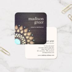 Gold Lotus Floral Mandala Wood Natural Wellness Square Business Card at Zazzle