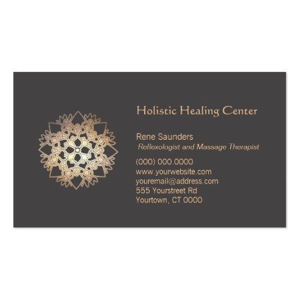 Gold Lotus Flower Healing Arts Business Card