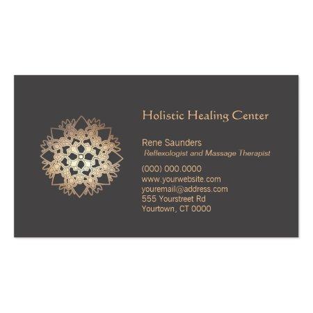 Gold Leaf Lotus Flower Holistic Healing Business Cards