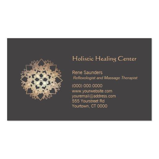 Gold Lotus Flower Healing Arts Business Card