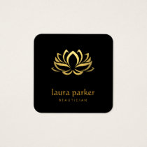 Gold Lotus Flower Logo Healing Yoga Holistic Square Business Card