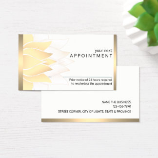 Gold Lotus Flower Yoga Vintage  Appointment Business Card