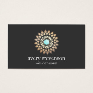 Gold Lotus Mandala Massage Therapist and Yoga Business Card