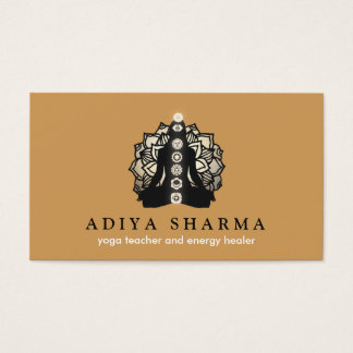 Gold Lotus Meditation Pose Energy Healer Business Card