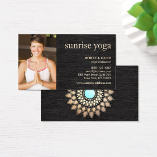 Gold Lotus on Wood Yoga Teacher Photo Business Card