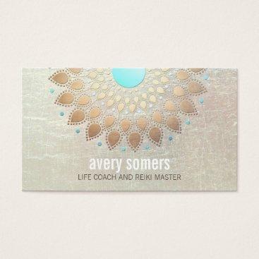sm_business_cards Gold Lotus Yoga and Meditation Teacher Wellness Business Card