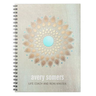 Gold Lotus Yoga and Meditation Teacher Wellness Spiral Notebook