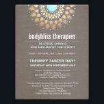 """Gold Lotus Yoga Holistic Health Therapist Flyer<br><div class=""""desc"""">Mandala inspired faux gold leaf rosette medallion is perfectly accented by shimmery beige toned foil digital image background. Turquoise blue center. Soft beige faux linen texture backside.*Please note that gold foil ,  brushed and linen surfaces are digital images - not the real thing.</div>"""