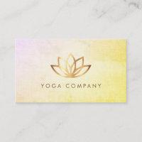 Gold Lotus Yoga Instructor Vintage Business Card