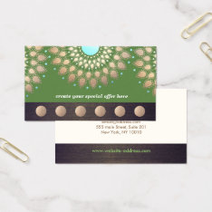 Gold Lotus Yoga Meditation 6 Class Punch Loyalty Business Card at Zazzle