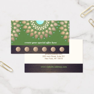 Gold Lotus Yoga Meditation 6 Class Punch Loyalty Business Card