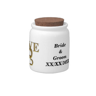 Gold Love and Hearts, Name and Date Candy Jar