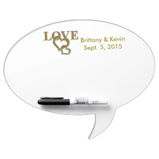 Gold Love and Hearts, Names & Date Dry-Erase Board