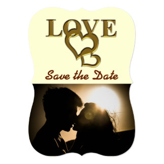 Gold Love and Hearts Save the Date Flat Card