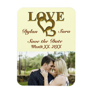 Gold Love and Hearts Save the Date Photo Magnet