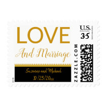 Gold Love and Marriage Wedding or Engagement Party Postage