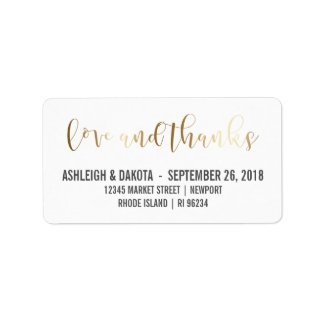 Gold Love And Thanks Script | Newlyweds Photo Label