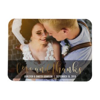 Gold Love And Thanks Script | Newlyweds Photo Magnet