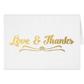 GOLD LOVE AND THANKS WEDDING NOTE CARD