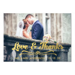 GOLD LOVE AND THANKS | WEDDING THANK YOU CARD