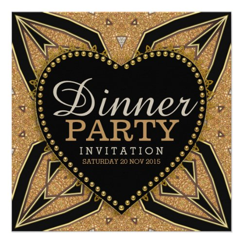 Gold Love Art Deco Dinner Party Invitations
