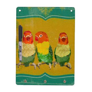 Gold Love Birds Dry Erase Board