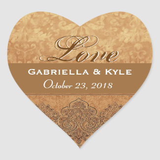 Gold  Love Bride and Groom Date Heart Sticker