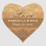 Gold  Love Bride and Groom Date Stickers
