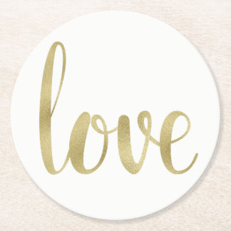 Gold love coasters, disposable, round round paper coaster