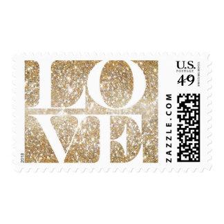 Gold Love Glitter Stamp