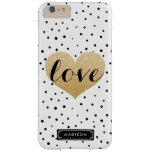 Gold Love Heart Black White Dalmatian Dots Custom Barely There iPhone 6 Plus Case
