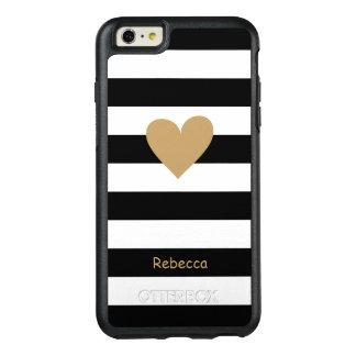 Gold Love Heart Black White Stripes Monogram Name OtterBox iPhone 6/6s Plus Case