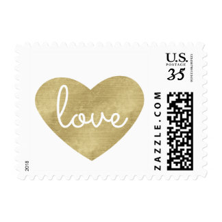 Gold Love Heart Wedding Postage