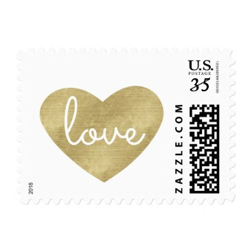 Valentines Themed Gold Love Heart Wedding Postage