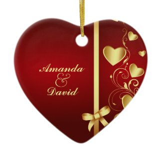 Gold Love Hearts and Flourishes Ornament ornament