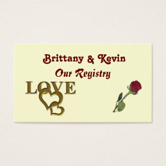 Gold Love Hearts and Red Rose Registry Card