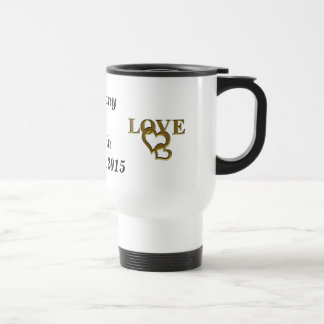 Gold Love Hearts, Names and Date Wed Travel Mug