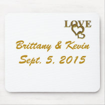 Gold Love Hearts, Names and Dates Wedding Mousepad