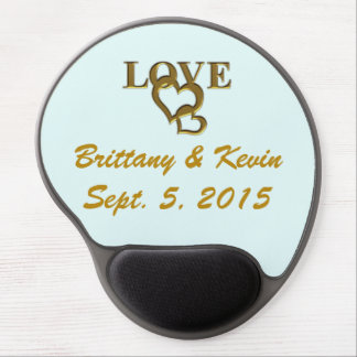 Gold Love Hearts, Names & Date Wed Gel Mousepad