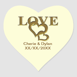 Gold Love Hearts Wedding Couple Heart Stickers