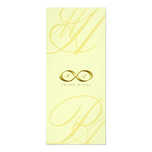 "Gold Love Infinity Hand Clasp Logo Wedding Invite 4"" X 9.25"" Invitation Card"