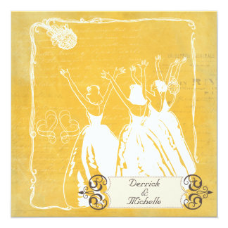 Gold Love Letter the Bouquet Wedding Invite