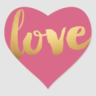 Gold love Pink Heart Stickers